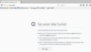 Firefox prøver å laste inn http://www.chrome.exe