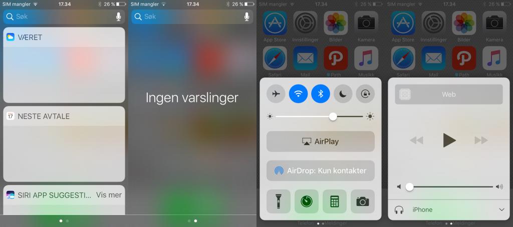 Visuelle endringer i varslingssenteret og kontrollsenteret i iOS 10