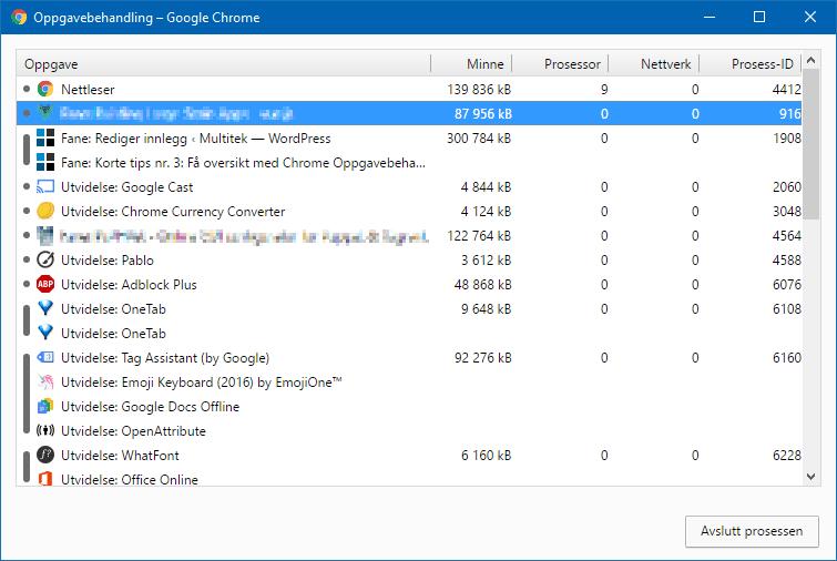 Den innebygde Chrome Oppgavebehandling