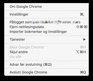 Menyen til Chrome