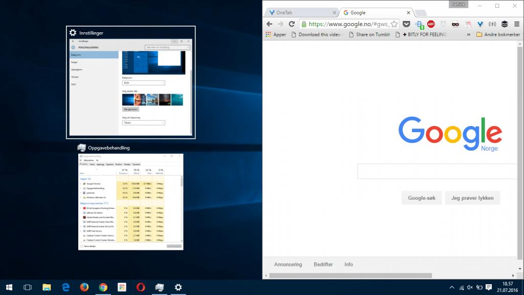 Multitasking med splittet skjerm