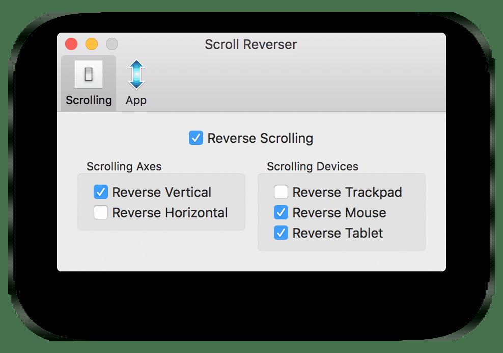 Slik skal det se ut i Scroll Reverser-vinduet