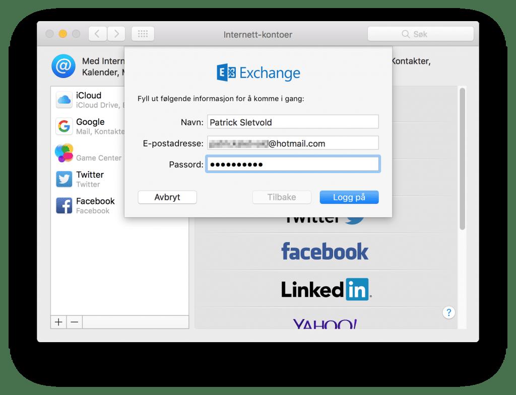 Legg til en ny Exchange-konto med e-post og passord