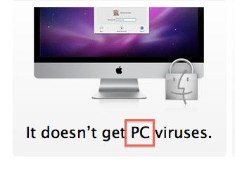 Et eksempel på tidligere Apple-markedsføring. At Mac ikke får PC-virus.