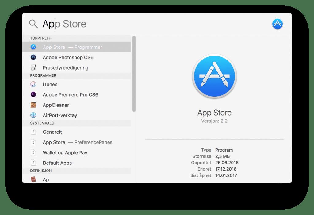Søk etter App Store, og du får opp App Store