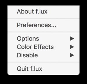 Mac-menyen til f.lux