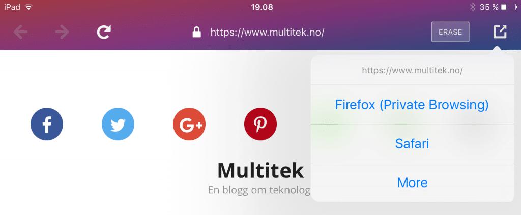 Dele-menyen i Firefox Focus