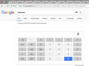 Kalkulator rett i nettleseren.