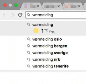 Værmelding fra adresselinja i Google Chrome