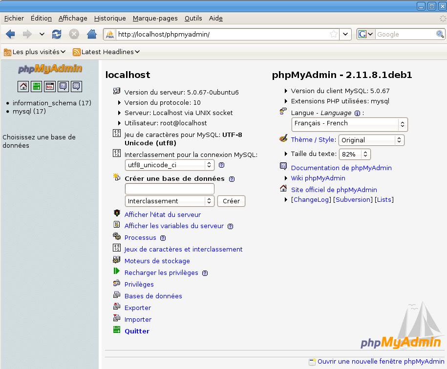 Det grafiske databasegrensesnittet phpMyAdmin i Firefox