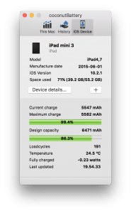 iPad-data i coconutBattery