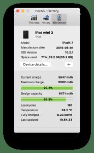iPad-data i coconutBattery