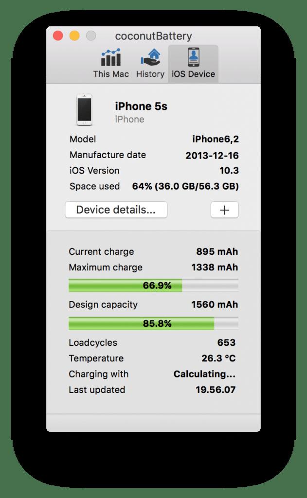 Oversikt over batteridata fra iPhone i coconutBattery