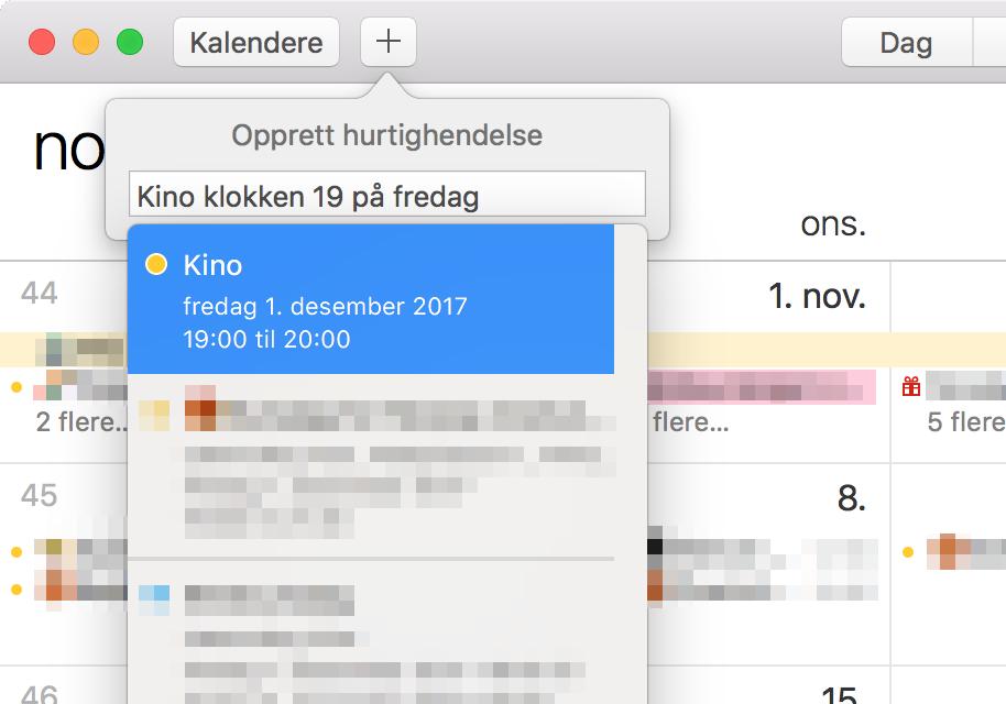"""Tekstboksen når du har skrevet inn """"Kino klokken 19 på fredag"""""""
