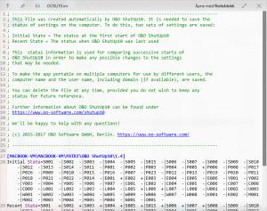 QuickLook som forhåndsviser en tekstfil av typen .ini