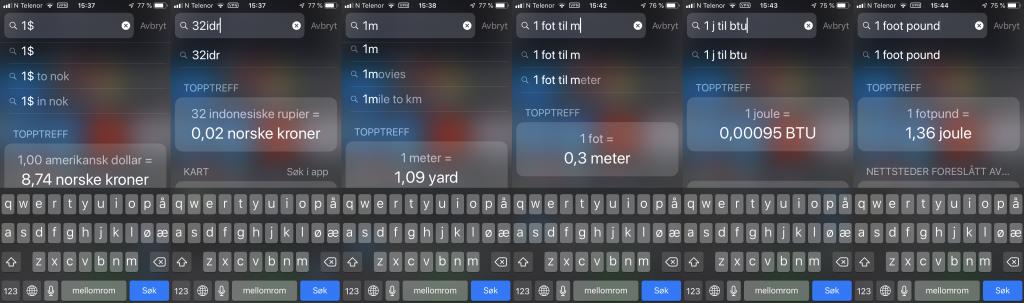 Seks eksempler på konvertering av valuta og enheter med Spotlight på iOS.