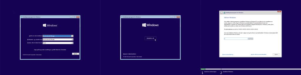 Bilde satt sammen av starten av installeringsprogrammet for Windows. Det første trinnet lar deg velge språk og datoformat. Det neste trinnet består av en installeringsknapp. Det siste trinnet på bildet er der du kan skrive inn lisensnøkkelen din.