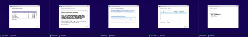 Bilde satt sammen av de siste trinnene i installeringsprogrammet for Windows. Det første trinnet på bildet lar deg velge utgaven av Windows 10 du vil velge. Det neste inneholder lisensavtalen. Neste trinn lar deg velge installasjonstypen, og siste trinn lar deg velge disken hvor Windows skal installeres. Til slutt kommer ventebildet.