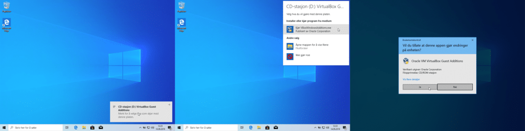Sammensatt skjermbilde som viser at Windows varsler om en ny CD som er satt inn, at brukeren velger å Kjøre VBoxWindowsAdditions.exe og at Windows spør om du vil tillate at appen gjør endringer på datamaskinen.