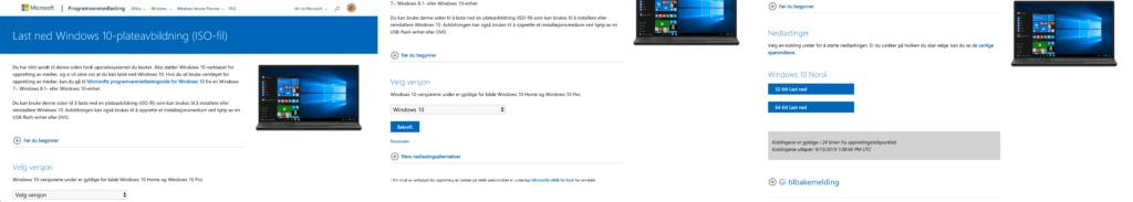 Sammensatt skjermbilde med trinnene på nettsiden der du laster ned en Windows 10 ISO-fil. Først velger du hvilken versjon av WIndows, deretter velges språk og 32-bit eller 64-bit.